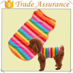 wholesale Rainbow Stripe Pet Shirt Dog Clothes Puppy Cat Apparel Costume Clothing Summer