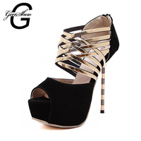 Sexy Peep Toe 14cm Super High Heels Shoes Summer Sandals Zip Back Women Wedding Platform Ankle Strap Pumps Ladies
