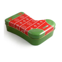 Christmas promotion stockings shape package tin boxes