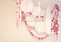 pink honeycom handmade paper round garland for home wall decor