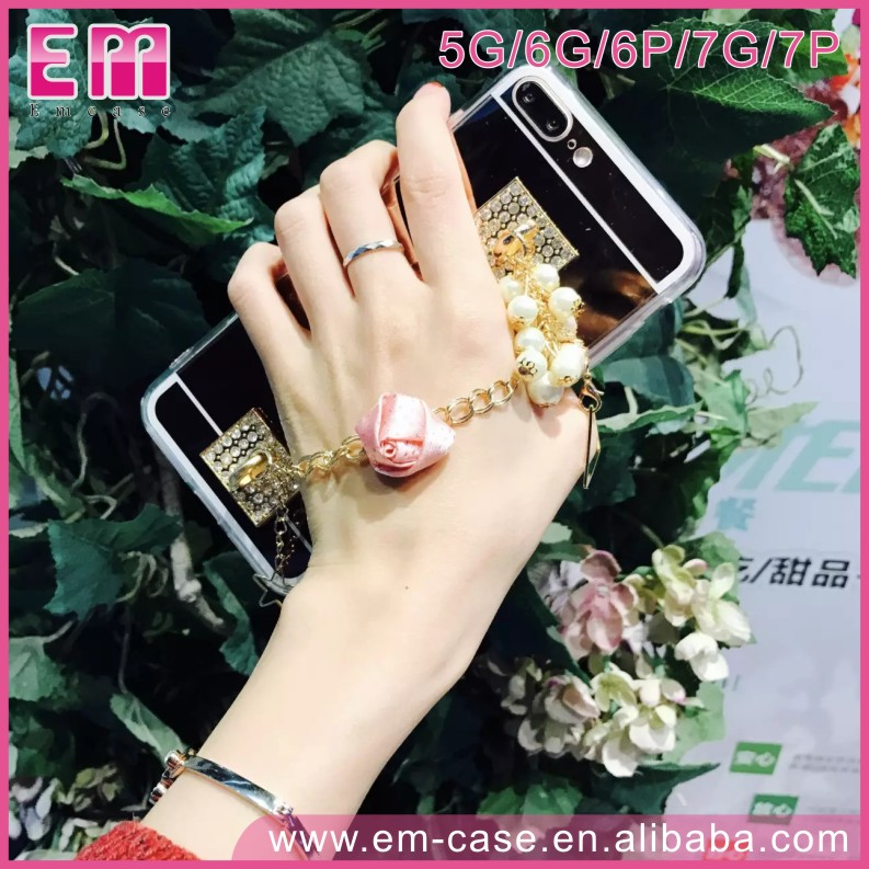 Pearl Rose Flower Chain Pearl Chain Case Mirror PC Phone Cover For iPhone5 6 6p 7 7p