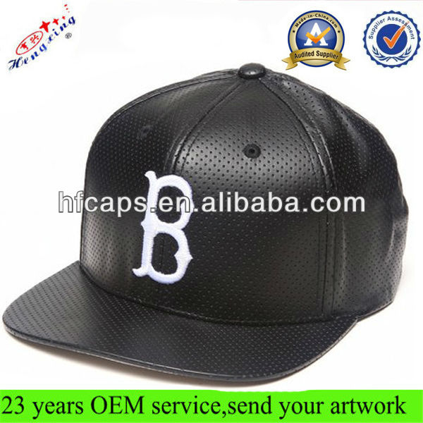 Black Leather Hat/Cap with Embroidery Logo Perforated Faux Leather Snapback Hats Custom