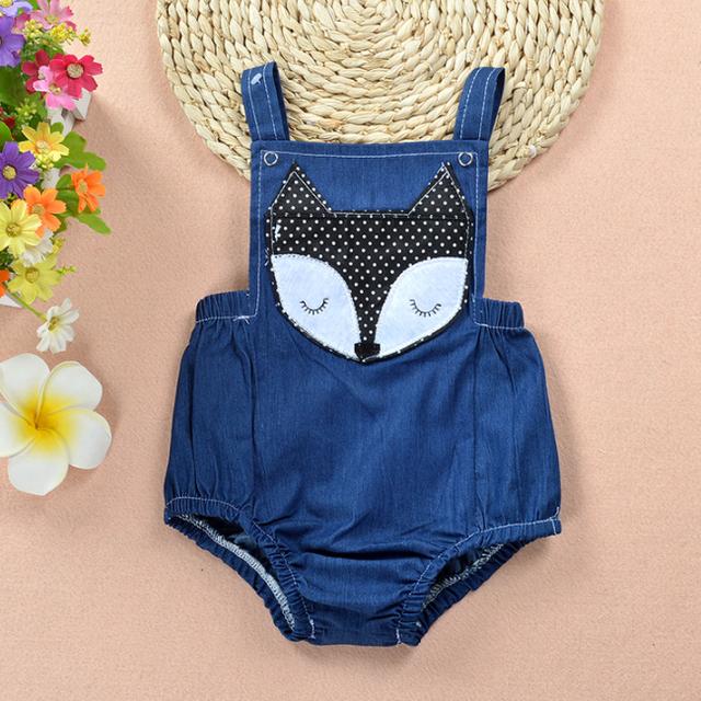PHB13414 cheap price fox patch baby denim romper bodysuits