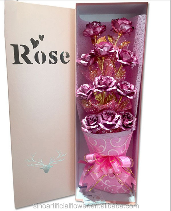 Wholesale Magic artificial flower 24K gold rose for Valentines gift