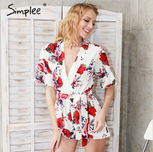 Simplee hot floral print beach summer women romper jumpsuit wholesale