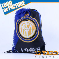 Custom Printed Italy inter milan soccer team logo shoes string backpack/bag
