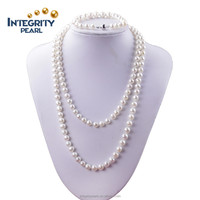 8mm near round white fancy cheap long pearl necklace bracelet set fashion pearl necklaces set for women