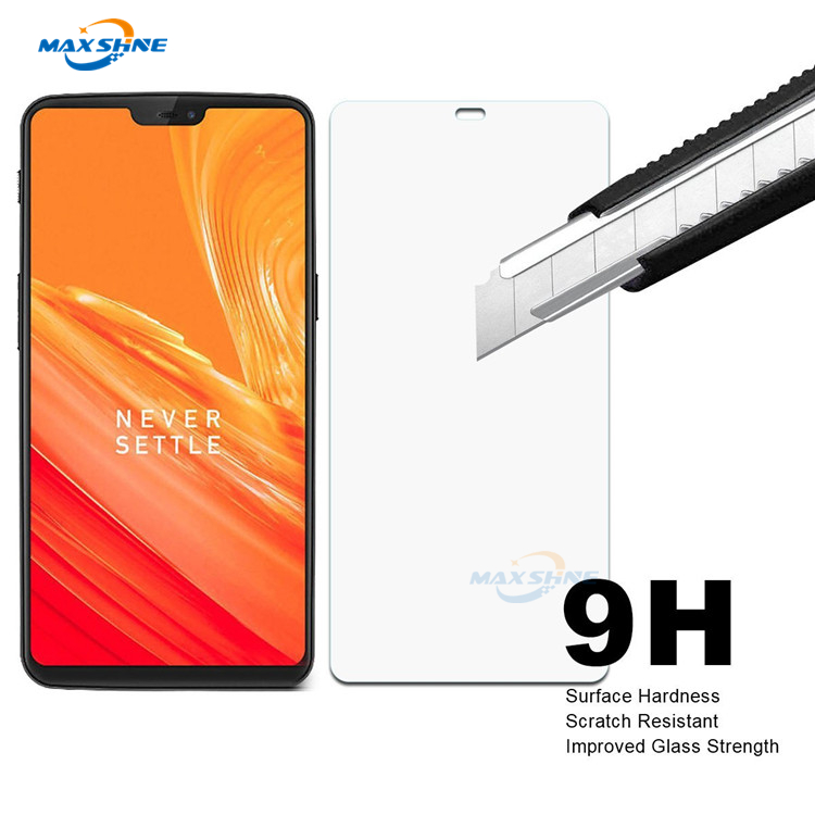 Maxshine custom cut colored tempered glass screen protectors for oneplus 6, explosion-proof tempered glass film for oneplus 6