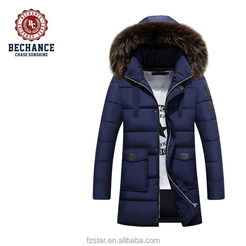 2016 men's winter warm long thick casual detachable fur hood padded coat