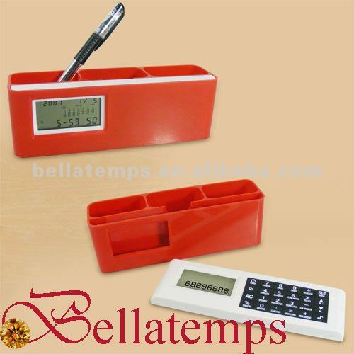 Pen holder clock with calculator