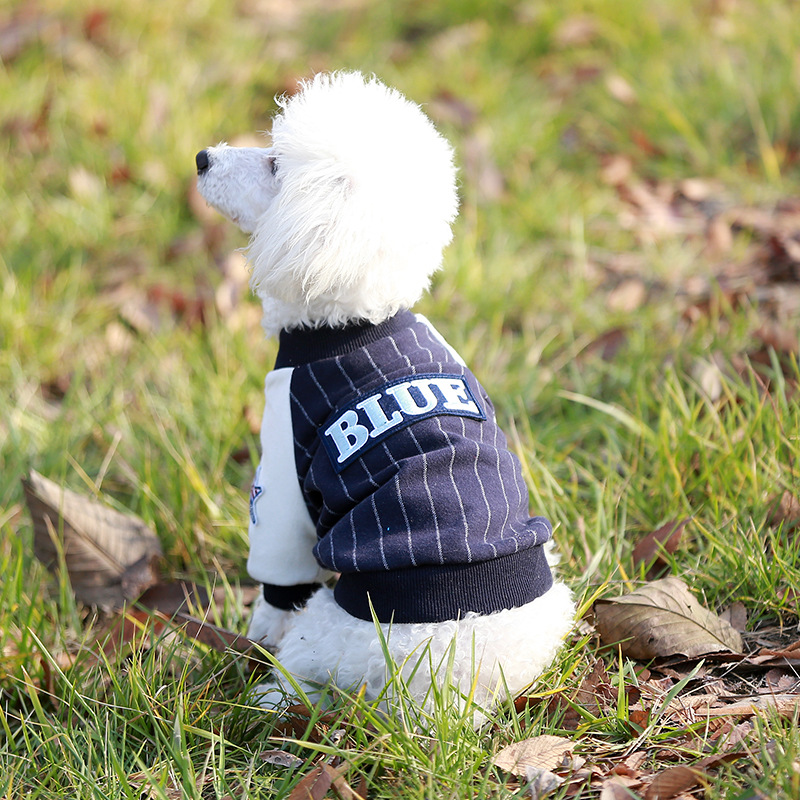 High-end quality 100% cotton pet baseball clothing British striped casual t-shirt dog coat