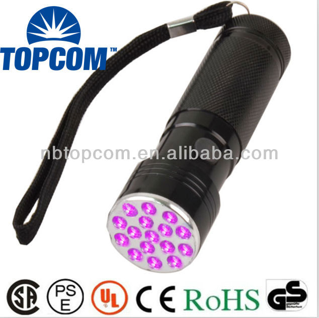 Aluminum 16 led uv flashlight for fluorescence detection