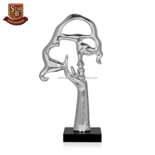 "Factory custom made silver resin abstract ""Face Od Woman"" on base sculpture"