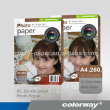 A4 260gsm Glossy Inkjet RC Photo Paper