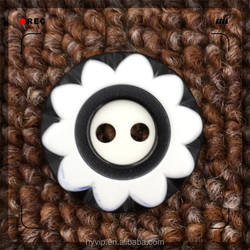 HYD Factory Custom Direct Resin Button Sunflower White And Black OEM Design Fisheye Hole Plastic Button