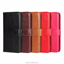Solid Color Plain Leather Crazy Horse Pattern Cell Case Mobile Pouch Cover For LG LV5 K20 With Stand