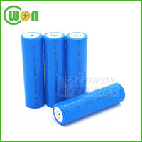 3.7 volt lithium ion battery ICR18650 3000mAh rechargeable cylindrical battery