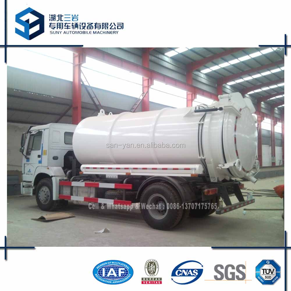 9 m3 Vacuum Sucking Tanker 4x2 Sewage Suction Truck HOWO Tipping Tanker Truck