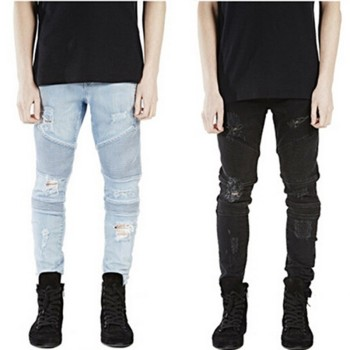 ripped motor jeans Mens biker Skinny jeans for men slim elastic jeans denim Biker jeanshiphop pants in stock accept small order