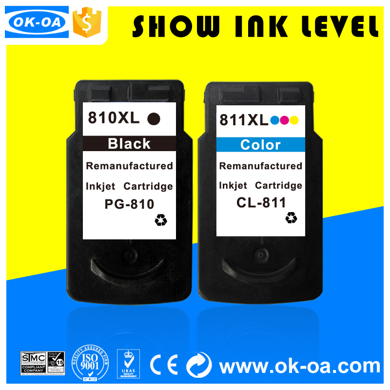 show ink level printer ink cartridge 810 811 pg-810 cl-811 auto reset chip for canon refillable ink cartridge