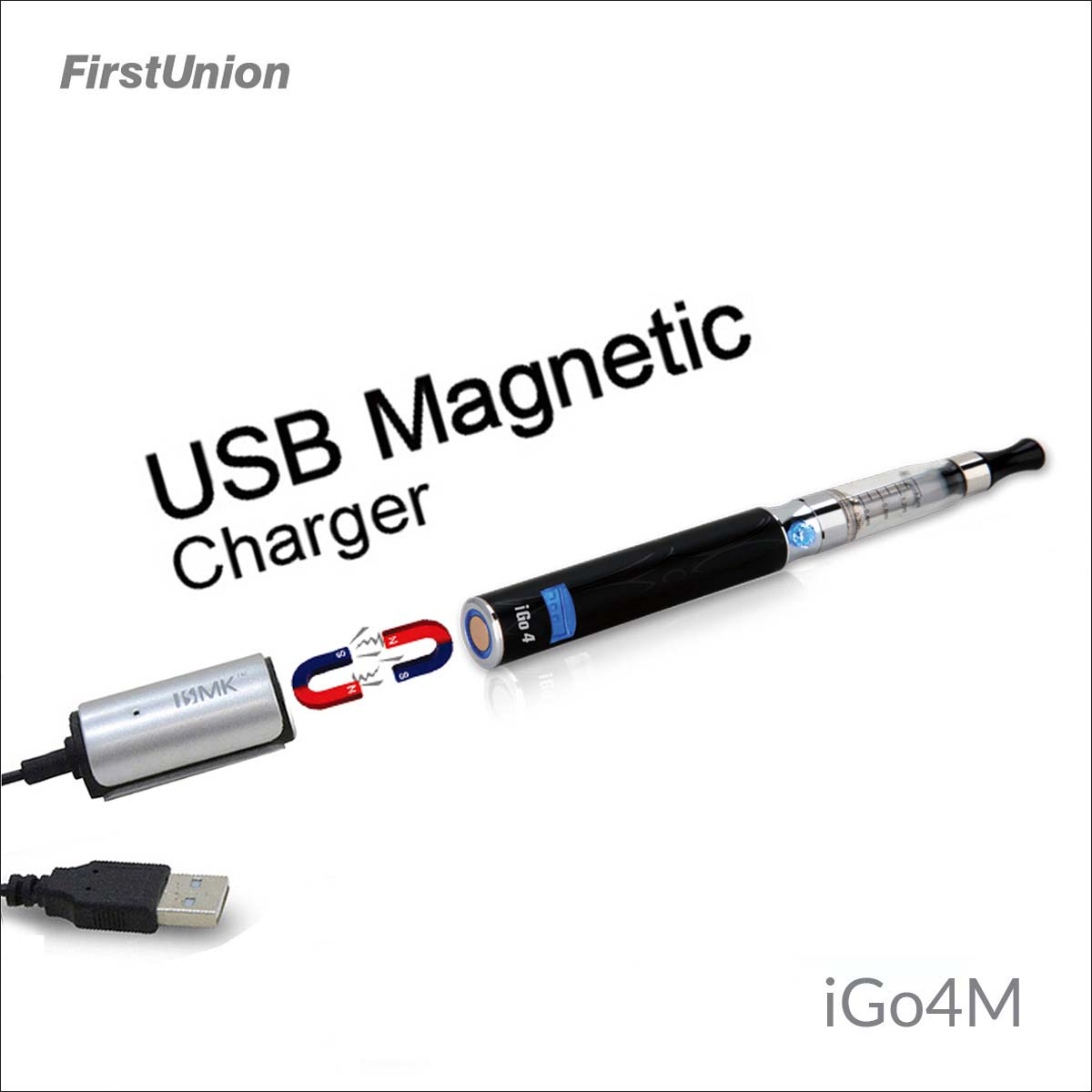2014 new innovative products iGo4M USB magnetic charger LED display vamos e cigarette cig e-cigarette