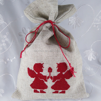 drawstring bag Embroidery backpack Angels Cross stitch pouch Gift
