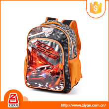 Best price cool car picture design 600D /PVC bags backpacks for kids