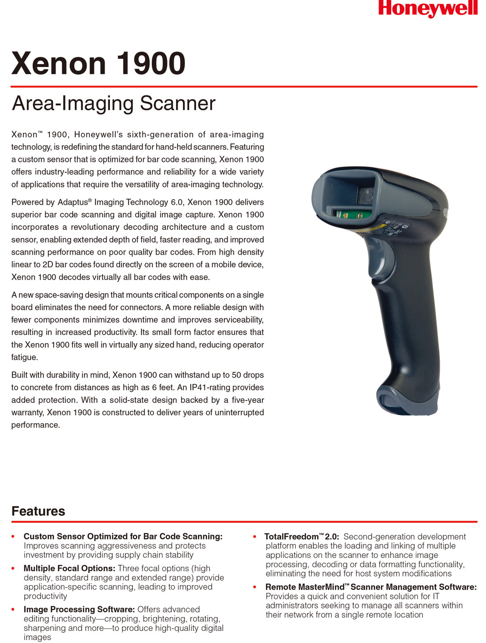 Honeywell Xenon 1900 Area-Imaging Scanner/2D Barcode scanner