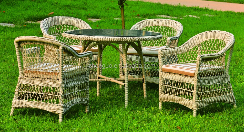 Grid type structure rattan outdoor furniture garden set endurance table and chairs