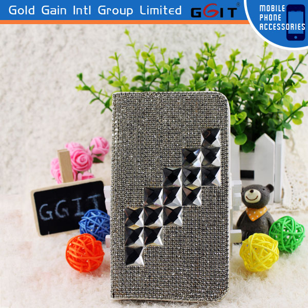 Fashion Silver Diamond Flip Cover Luxury Case For Samsung N7100, PU Leather Protector For Note 2
