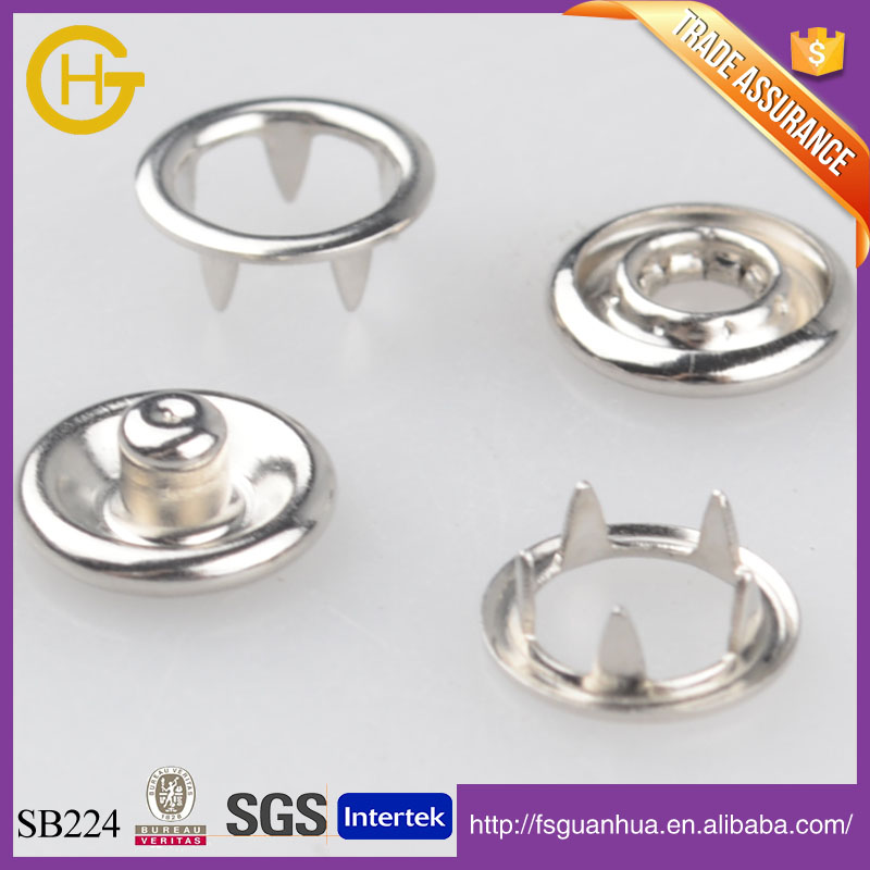 High quality metal brass snap button prong snap button for garment brass spring snaps