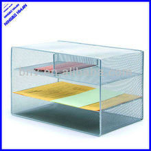 4 divider office metal mesh desk stacking desk file tray