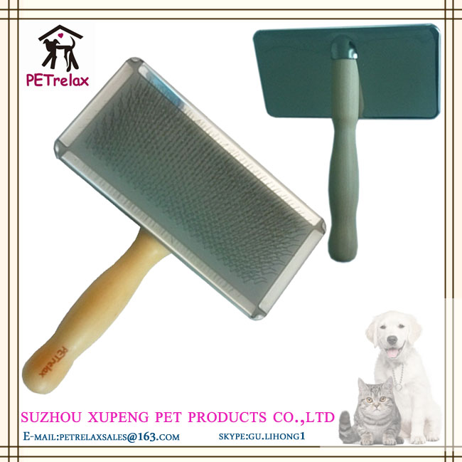 (L) PR80029-2 soft curve needled manual bristles grooming cleaning easy use durable pet brush