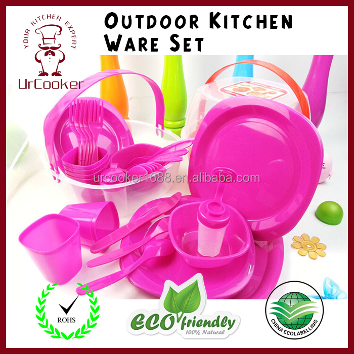 Eco-friendly dinnerware set Plastic tableware set for outdoor Portable cookware set wholesale