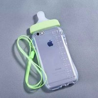 Cute Transparent Feeding Milk Bottle Soft TPU Gel Case with rope for iPhone5/6/6 Plus
