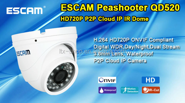Hot-selling Cheap ESCAM Peashooter QD520 HD720P P2P Cloud IP IR Dome CCTV Camera For Wholesale