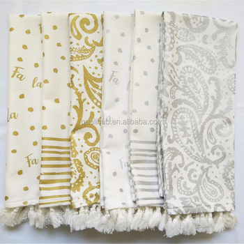 cotton printing gold design face kitchen towel china factory