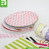 Wholesale promotional colorful disposable Luncheon Plates Birthday Party paper plates