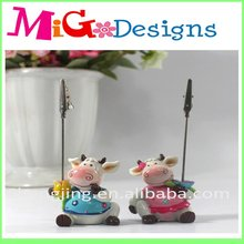 Polyresin Blue Toy Cow Design Place Card Holder