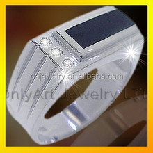 elegent deisng silver with black agate ring D ring jewelry for gentle men