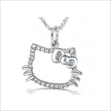 newest girls fashion hello kitty cat shaped 925 silver interchangeable pendant necklace