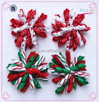 Lovely baby girls toddler christmas korker hair bows(approved by BV)