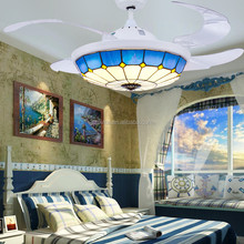 220V 42 inch tiffany style restaurant remote control LED stealth ceiling fan with light