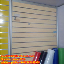 melamine MDF slatwall/PVC slatwall/Slotted MDF with aluminum strips inserts
