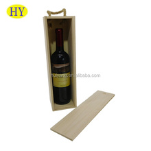 Custom Cheap Unfinished Single Bottle Sliding Lid Wood Wine Box with Jute Handle Wholesale