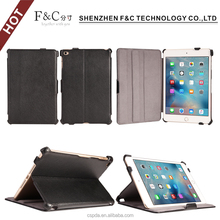 Factory price book style stand foilo genuine leathe case for ipad mini 4 with multiple view angles