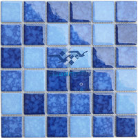 Factory supply blue kiln ocean pattern swimming pool mosaci tiles Y48B03