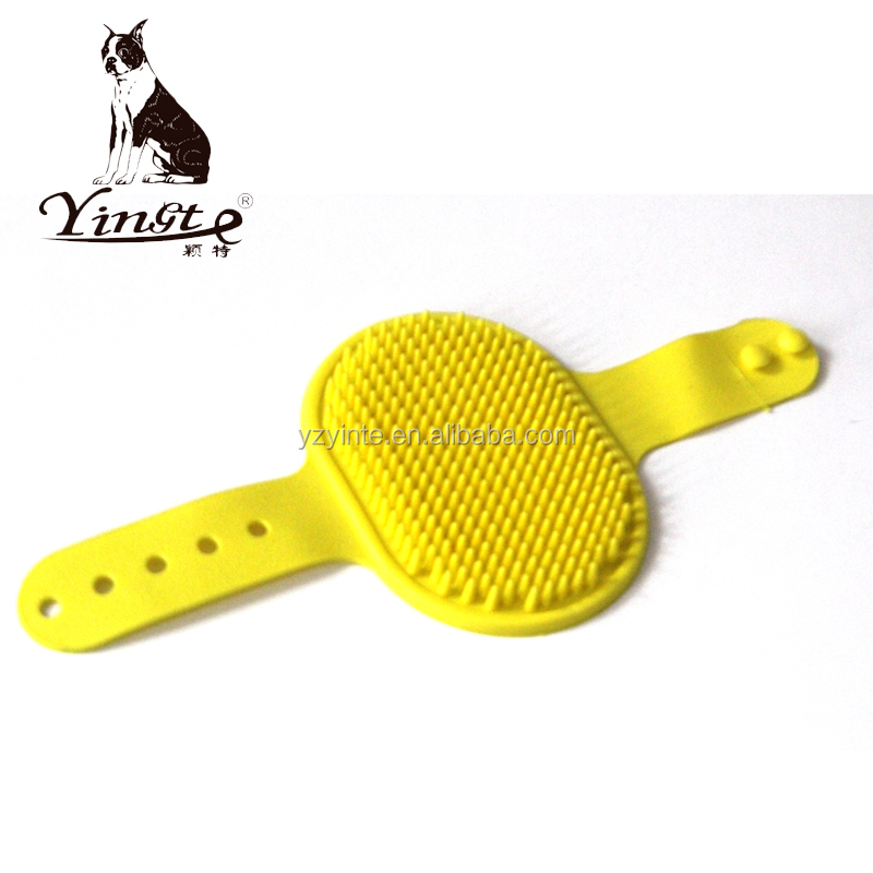 Soft rubber pet hair care grooming brush pet massagee brush