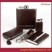 Business Card Hoder keychain Key Wallet Lighter Wine Pot 2015 Genuine leather Business Gifts Corporate Gifts