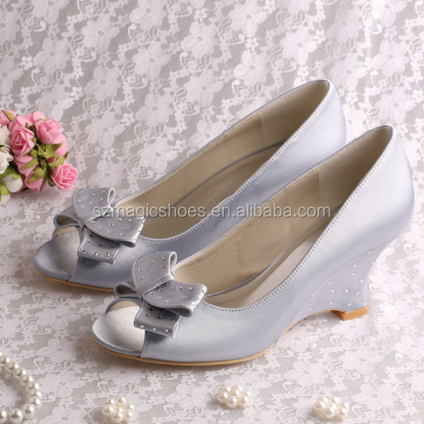(13 Colors) Silver Wedding Shoes Wedge <strong>Heel</strong>